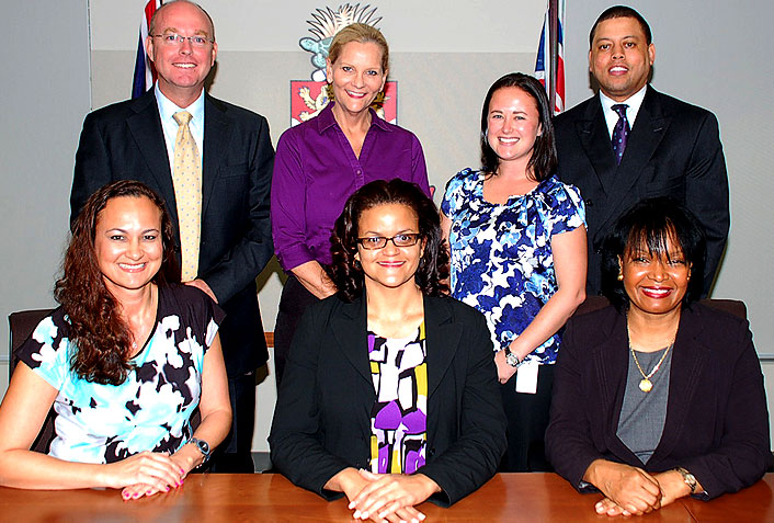 Members of and the Secretary to the Gender Equality Tribunal meet with the Honourable Minister for Education, Employment and Gender Affairs (L-R: back row - member Shaun Cockle, member Karie Bergstrom, Secretary Aubrey Bodden, member André Ebanks; front row - member Tammy Ebanks, Hon. Minister Tara Rivers, Chairperson Sheridan Brooks-Hurst)