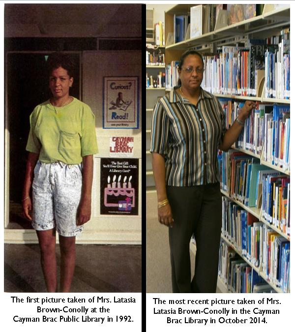 Mrs. Latasia at the Cayman Brac Library in 1992 and today.