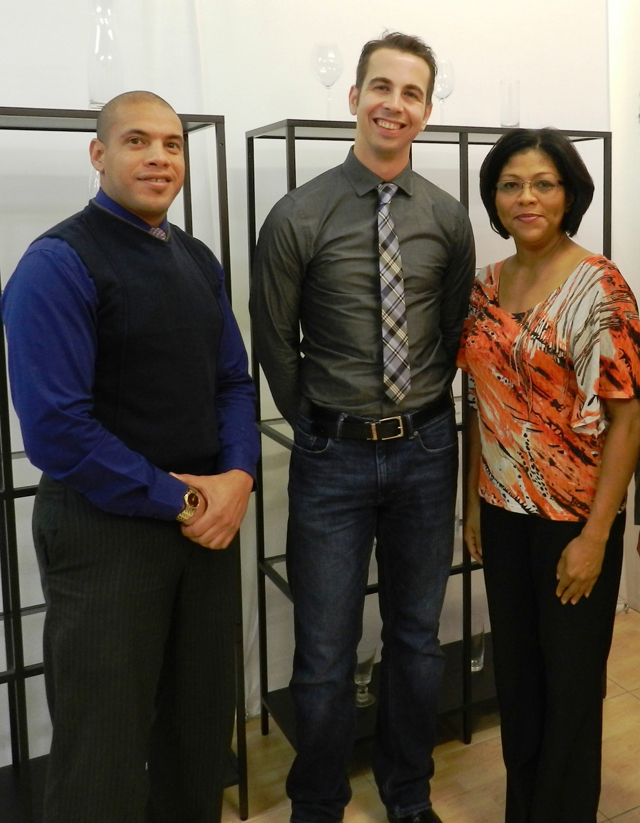 L-r: WineSchool 3 Director Mr. Shalico Christian, Wine School 3 WSET Educator Mr. Christian Esser and NWDA Manager of Training and Development Ms. Dianne Conolly.