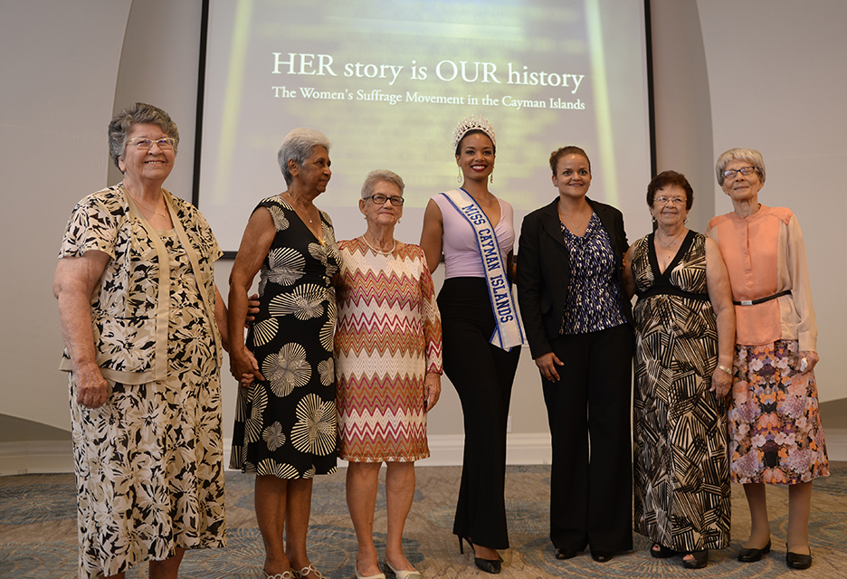 "Minister for Gender Affairs Hon. Tara Rivers (third from right) and Miss Cayman Islands Anika Conolly (centre) with five of the brave Caymanian women who signed the 1948 and 1957 petitions, (left to right) Mrs. Selma Eden, Mrs. Iva Johnson Good, Mrs. Janilee Clifford, Ms. Genevieve Henning and Mrs. Georgette Ebanks, at the premiere of the documentary ""Her Story is Our History""."