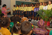 The Prospect Primary School choir singing Sandi Pattie's Love in Any Language during a special assembly commemorating United Nations Day.
