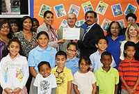 Government Officials celebrate with staff and students of Savannah Primary School on their PYP Authorisation.
